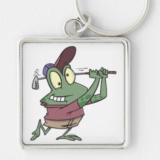 silly golfing golfer frog cartoon keychain