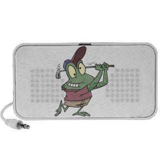 silly golfing golfer frog cartoon travelling speakers