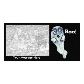 Silly Goofy Cartoon Ghost Big Eyes Boo Personalized Photo Card
