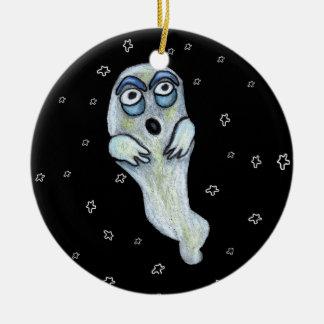Silly Goofy Cartoon Ghost Big Eyes Stars Ceramic Ornament