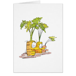 silly goofy cute cartoon carrots rooted card