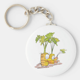silly goofy cute cartoon carrots rooted basic round button keychain
