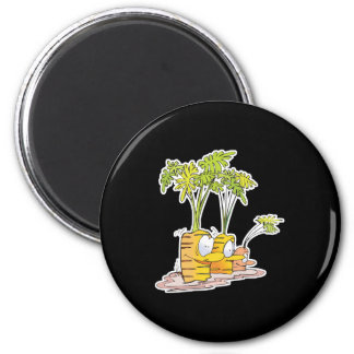 silly goofy cute cartoon carrots rooted 2 inch round magnet