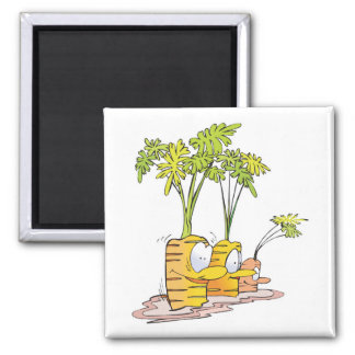 silly goofy cute cartoon carrots rooted 2 inch square magnet