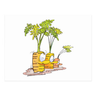 silly goofy cute cartoon carrots rooted postcard