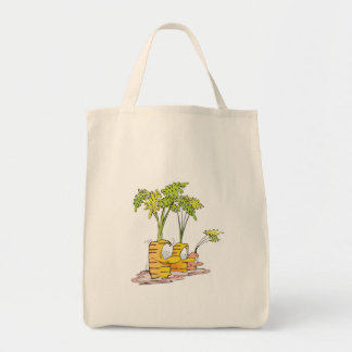 silly goofy cute cartoon carrots rooted tote bag