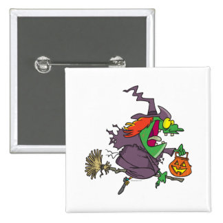 silly goofy halloween witch toon button
