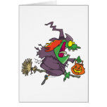 silly goofy halloween witch toon cards