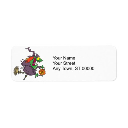 silly goofy halloween witch toon custom return address labels