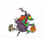 silly goofy halloween witch toon postcard
