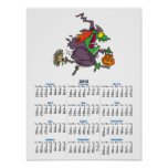 silly goofy halloween witch toon poster