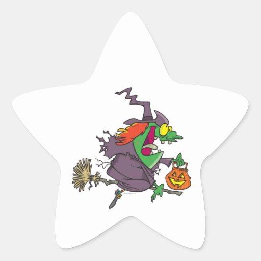 silly goofy halloween witch toon star sticker