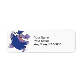 silly graduate graduation hippo cartoon label