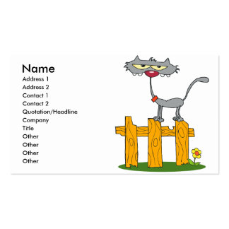 silly gray cat standing on a fence cartoon business card