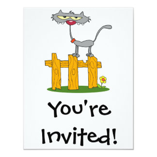 """silly gray cat standing on a fence cartoon 4.25"""" x 5.5"""" invitation card"""