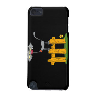 silly gray cat standing on a fence cartoon iPod touch 5G covers