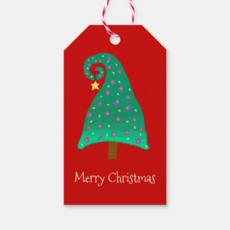 Silly Green Christmas Tree On Red Gift Tags