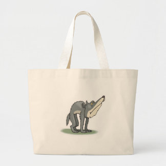 silly grey wolf large tote bag