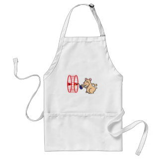 silly hamster oiling wheel adult apron