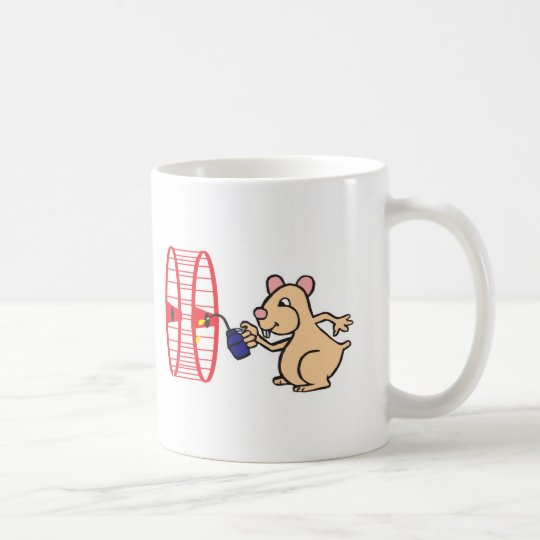 silly hamster oiling wheel coffee mug