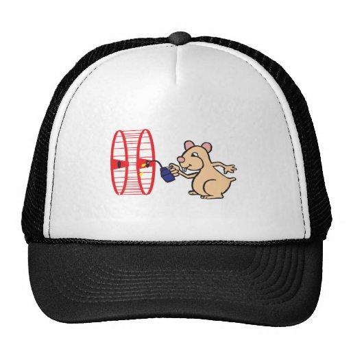 silly hamster oiling wheel trucker hat