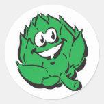 silly happy artichoke classic round sticker