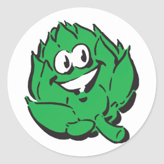silly happy artichoke classic round sticker