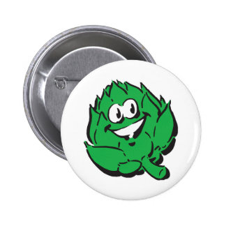 silly happy artichoke pinback button