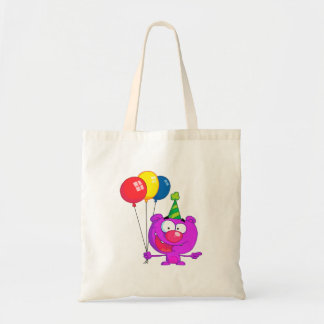 silly happy birthday party purple bear  balloons budget tote bag
