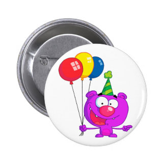 silly happy birthday party purple bear  balloons pinback buttons
