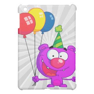 silly happy birthday party purple bear balloons iPad mini cover