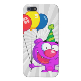 silly happy birthday party purple bear balloons cases for iPhone 5