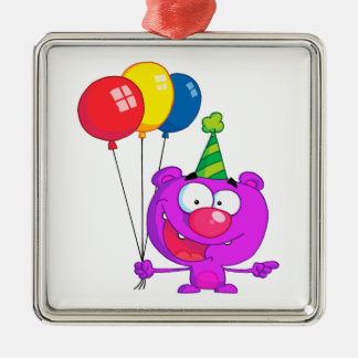 silly happy birthday party purple bear  balloons square metal christmas ornament