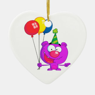 silly happy birthday party purple bear  balloons Double-Sided heart ceramic christmas ornament
