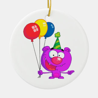 silly happy birthday party purple bear  balloons Double-Sided ceramic round christmas ornament