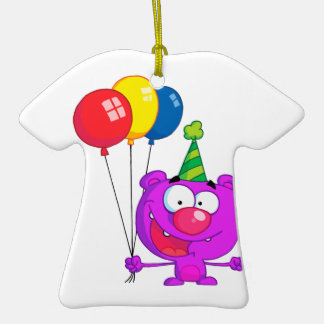 silly happy birthday party purple bear  balloons Double-Sided T-Shirt ceramic christmas ornament