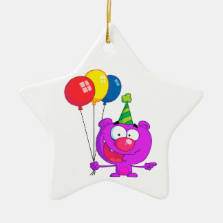 silly happy birthday party purple bear  balloons Double-Sided star ceramic christmas ornament