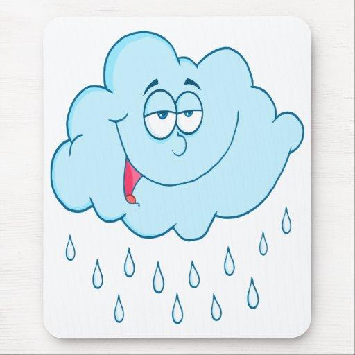 silly happy rain cloud cartoon mouse pad