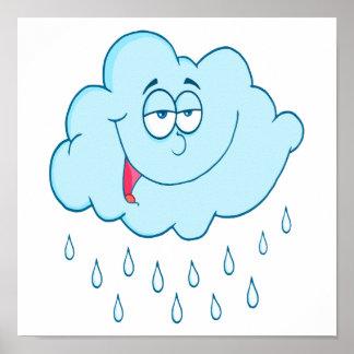 silly happy rain cloud cartoon poster