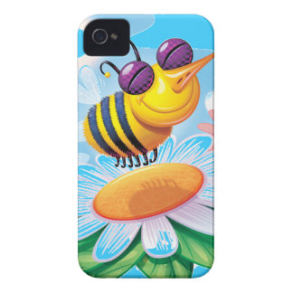 silly happy smiling bee on a flower iPhone 4 cases