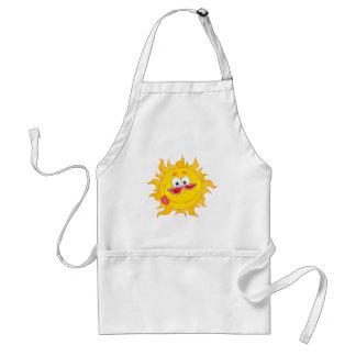 silly happy sun cartoon wearing shades adult apron