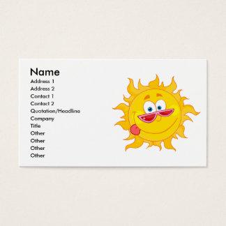 silly happy sun cartoon wearing shades business card
