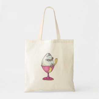 silly hard boiled egg character budget tote bag