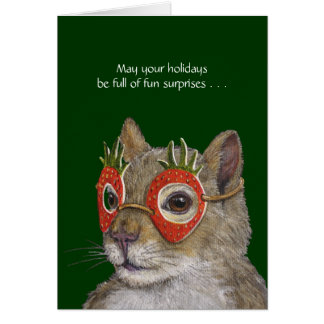 Silly holiday card with squirrel and peep