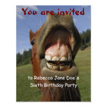 Silly Horse and Donkey Birthday Party Invitation