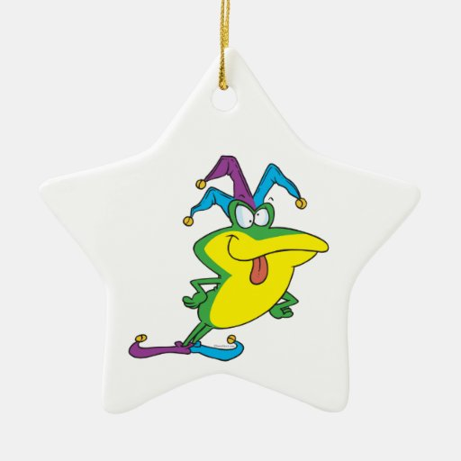silly jester fool frog cartoon christmas ornament