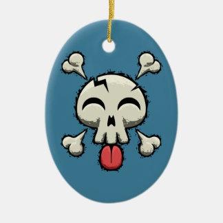 Silly Jolly Roger Double-Sided Oval Ceramic Christmas Ornament