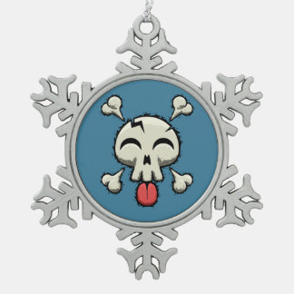 Silly Jolly Roger Snowflake Pewter Christmas Ornament