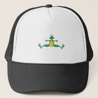 silly jumping jack froggy trucker hat