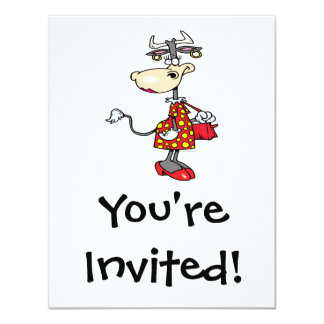 silly lady cow shopping shopper cartoon character 4.25x5.5 paper invitation card